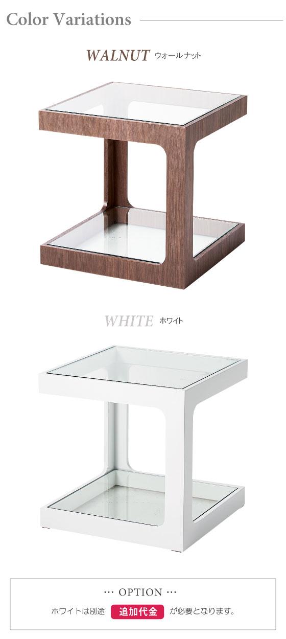 ガラス天板・スクエアサイドテーブル(幅40cm)