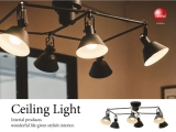 ブラックスチール製・6灯スポットシリングランプ(LED対応)