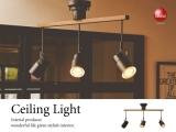 ウッド&ブラックスチール製・3灯スポットシーリングランプ(リモコン付き)LED対応