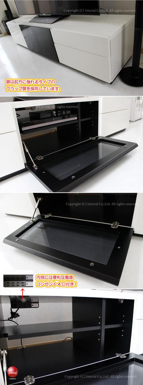 光沢UV塗装(鏡面仕上げ)幅180cmテレビ台(ホワイト/ブラック)