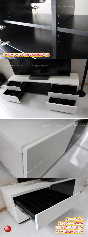 光沢UV塗装(鏡面仕上げ)幅160cmテレビ台(ホワイト/ブラック)