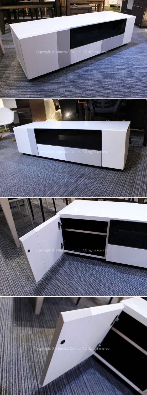 【アウトレット超特価】設置サービス付き!ホワイト鏡面UV塗装・幅140cmテレビボード(完成品)【完売しました】