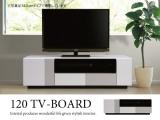 ホワイト鏡面UV塗装・幅120cmテレビボード(完成品)
