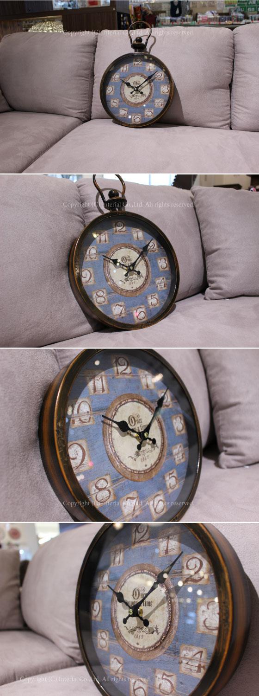 アンティークデザイン・壁掛け時計(ブルー)