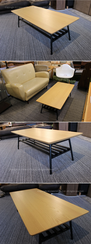 幅80cm・天然木オーク製リビングテーブル(折りたたみ式・完成品)【完売しました】