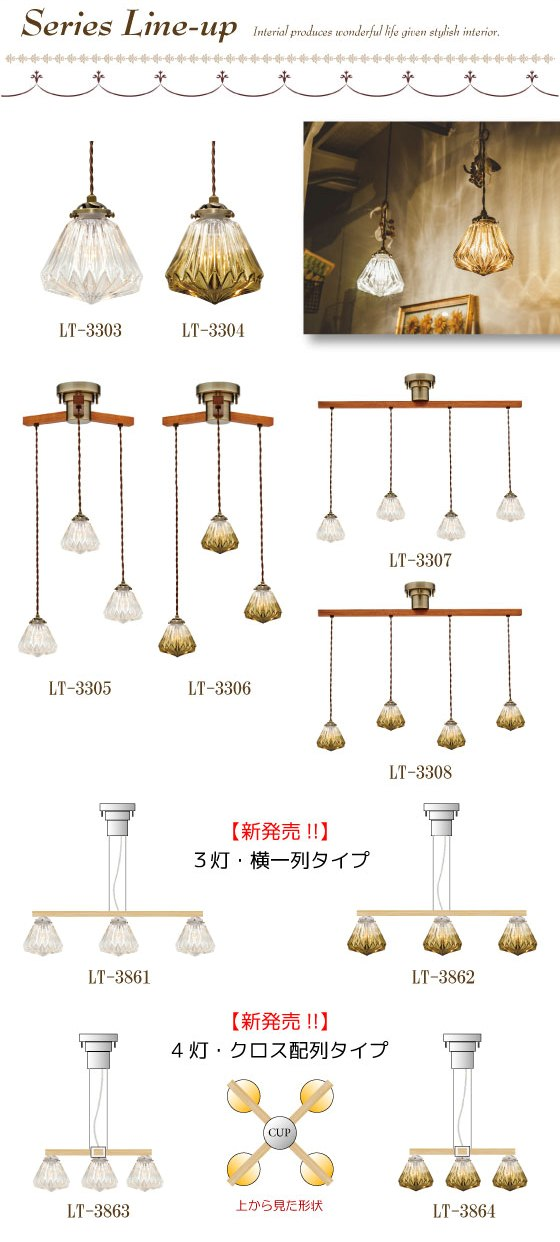 アンティーク・ガラス製3灯ペンダントランプ(横1列デザイン・LED対応)