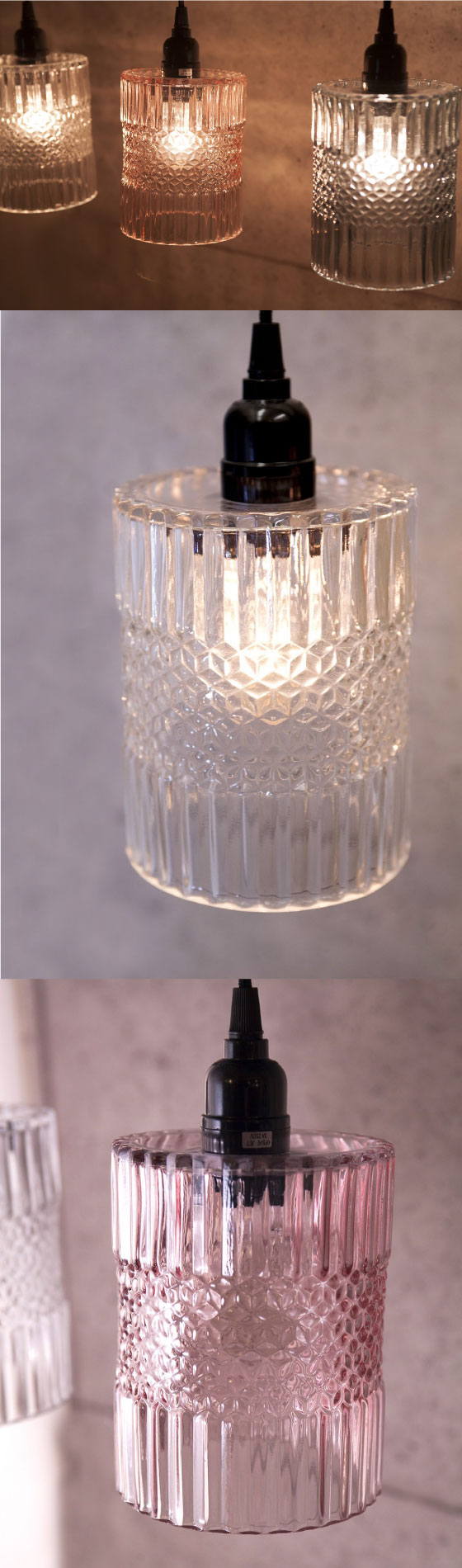 カットガラス・ペンダントライト(シリンダー)LED対応