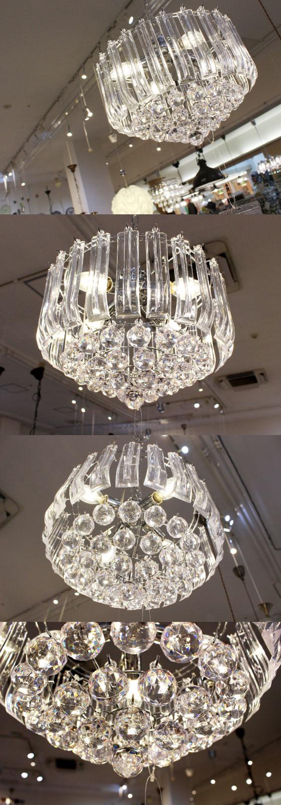 シーリングタイプ・ゴージャス4灯シャンデリア(クリアー)LED対応