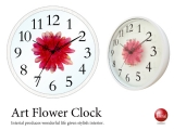 ウッドリング・アートフラワー壁掛け時計(レッド)