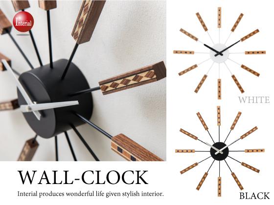 天然木製スティックデザイン・壁掛け時計(音なしスイープ針)