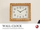 天然木製壁掛け時計(四角形)音なしスイープ針