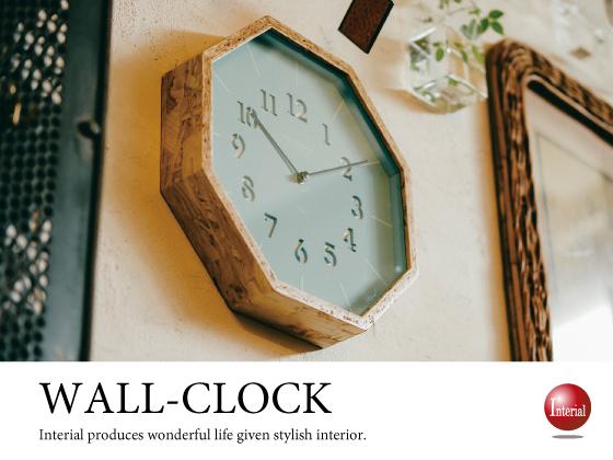 オクタゴンデザイン・壁掛け時計(ブルーグレー)音なしスイープ針
