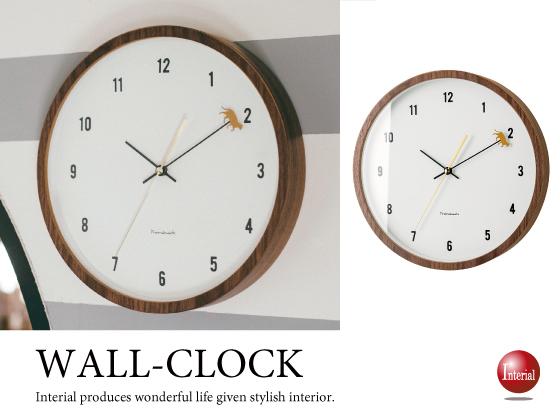 キャットデザイン壁掛け時計(ブラウン)音なしスイープ針
