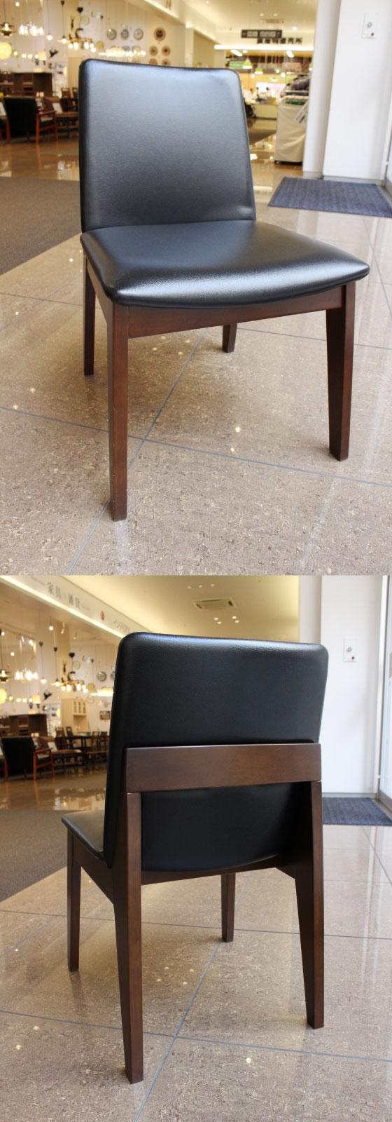 天然木&PVCレザー製・ダイニングチェア(2脚セット)ブラック【完売しました】