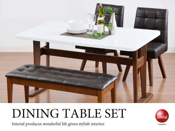 回転チェア2脚&ベンチ付き!ホワイト光沢ダイニングテーブルセット(幅135cm)ブラウン