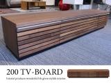 【アウトレット超特価】設置サービス付き!天然木ウォールナット製・幅200cmテレビボード(完成品)
