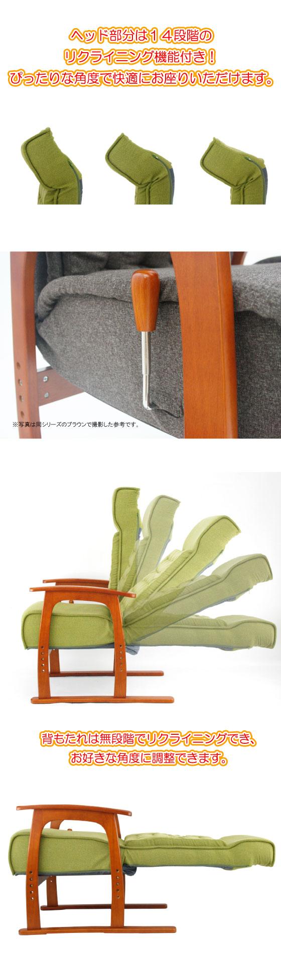 ポケットコイル仕様・無段階リクライニングフロアチェア(グリーン)