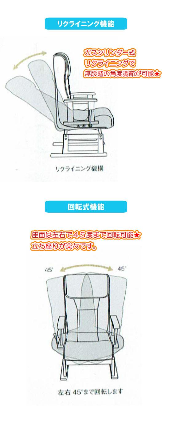 天然木&レザー製・回転式リクライニングチェア