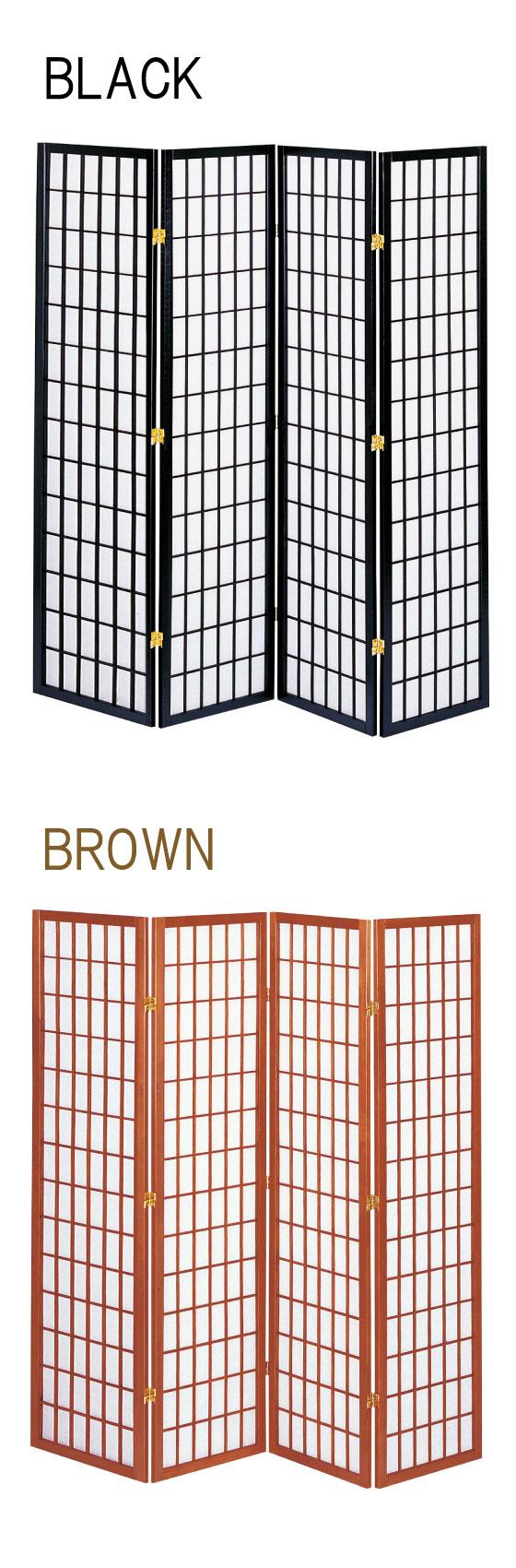 天然木パイン製&不織布・和風4連パーティション(高さ180cm)