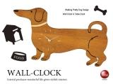 ドッグモチーフ・置き&掛け兼用時計(音なしスイープ針)
