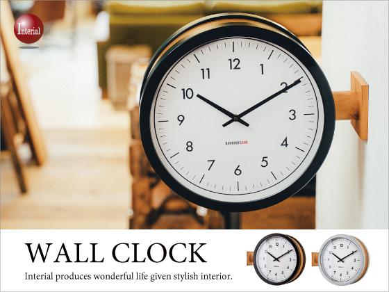 両面時計!ナチュラルテイストの掛け&置き時計(音なしスイープ針)