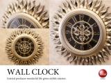 ビクトリアン調ゴールド&ブラック・壁掛け時計(音無しスイープ針)
