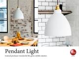ホワイト&ゴールド・スチール製1灯ペンダントライト(LED対応)