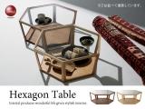 ハイデザイン・天然木&ガラス製リビングテーブル(幅92cm)完成品