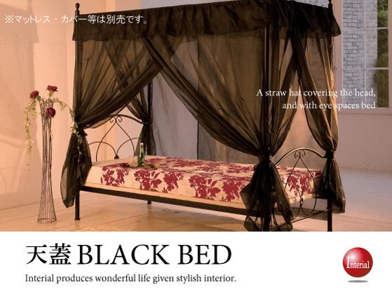 ブラック天蓋ベッド(シングルベッド+天蓋フレーム)