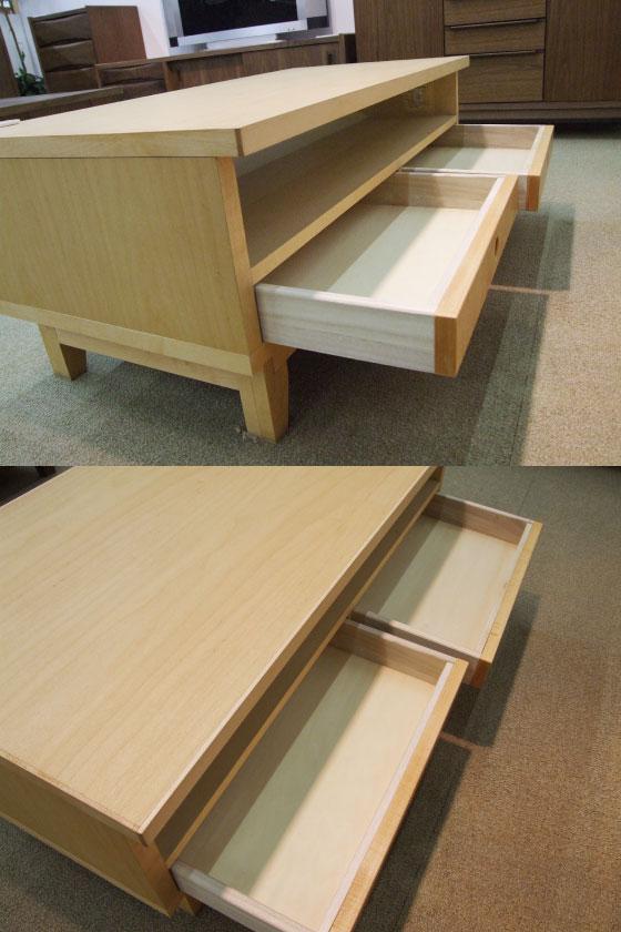 天然木ハードメープル・幅102cmリビングテーブル(日本製・完成品)