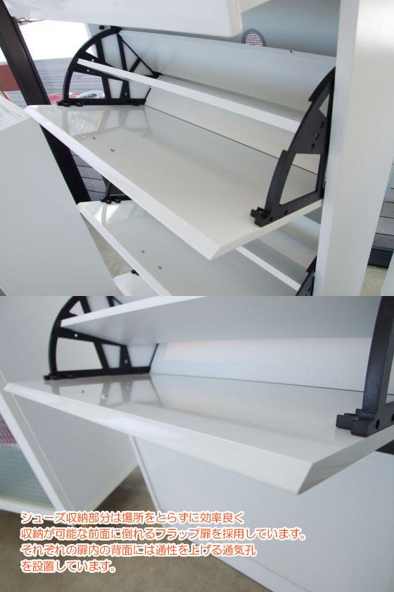 ホワイトハイグロス塗装&ガラス・シューズボックス(3段タイプ)完成品