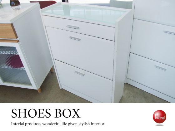 ホワイトハイグロス塗装&ガラス・シューズボックス(2段タイプ)完成品