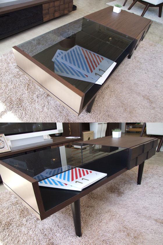 天然木アルダー&ガラス・センターテーブル(日本製)