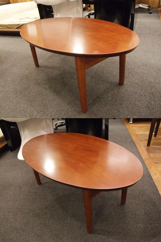 折りたたみ式天然木ラバーウッド製オーバルテーブル(完成品)【完売しました】