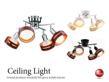 リモコン付き・ウッドリングスポットシーリングライト(4灯)LED電球&ECO球対応