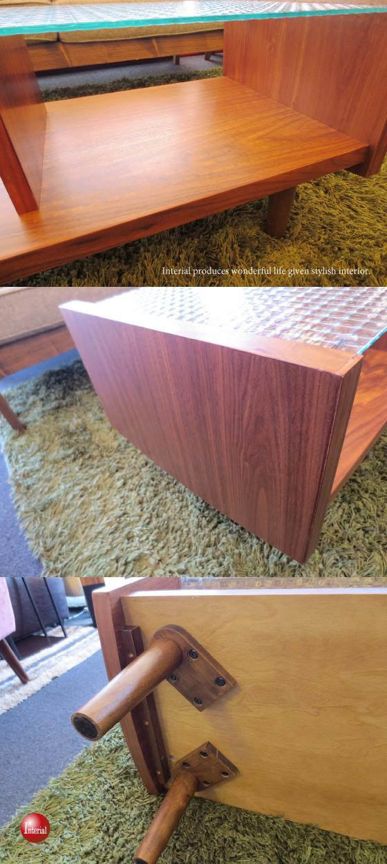 天然木ウォールナット&ラバーウッド・グラストップテーブル【完売しました】