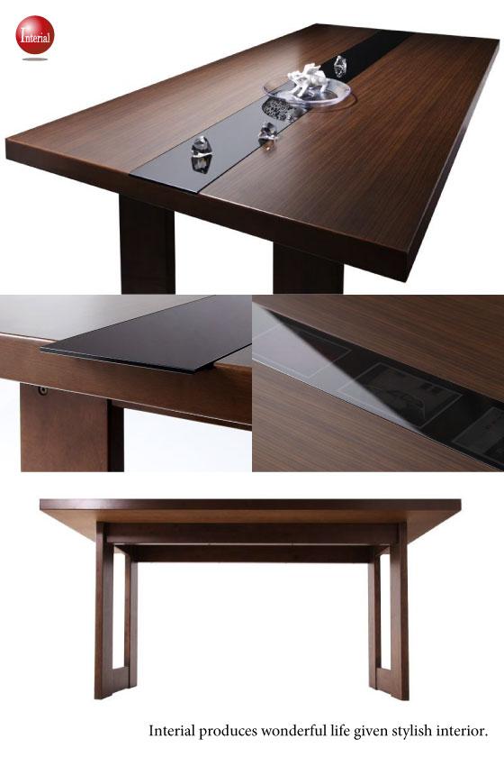 天然木ラバーウッド・幅150cmダイニングテーブル