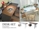 幅141cm・鏡面天板デスク&チェストセット(引出し&サイド棚付き)
