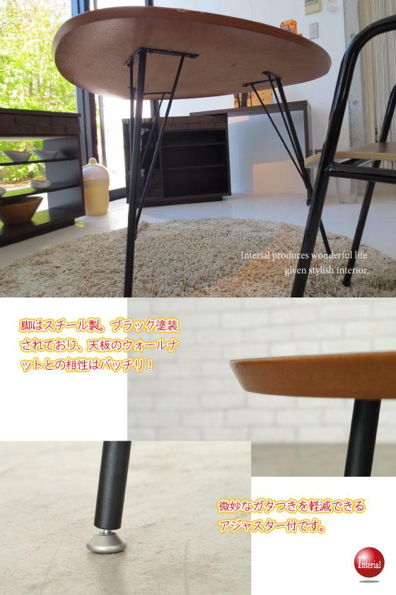 天然木ウォールナット突板貼り・90cmスリーサイドテーブル