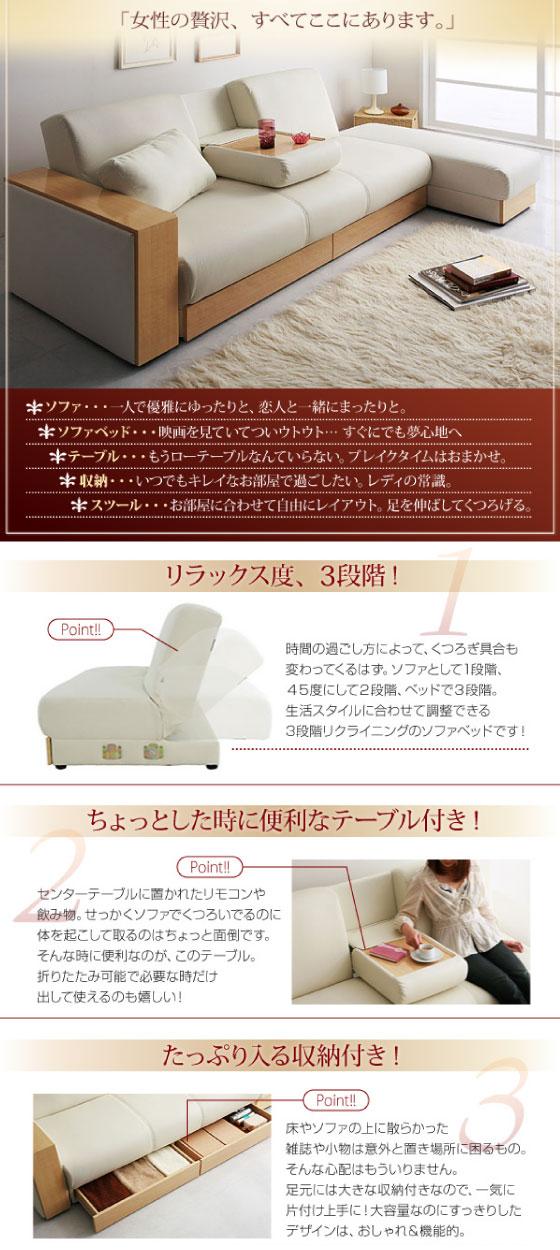 幅200cm・ソフトレザー製・ソファーベッド(収納&ミニテーブル付き)