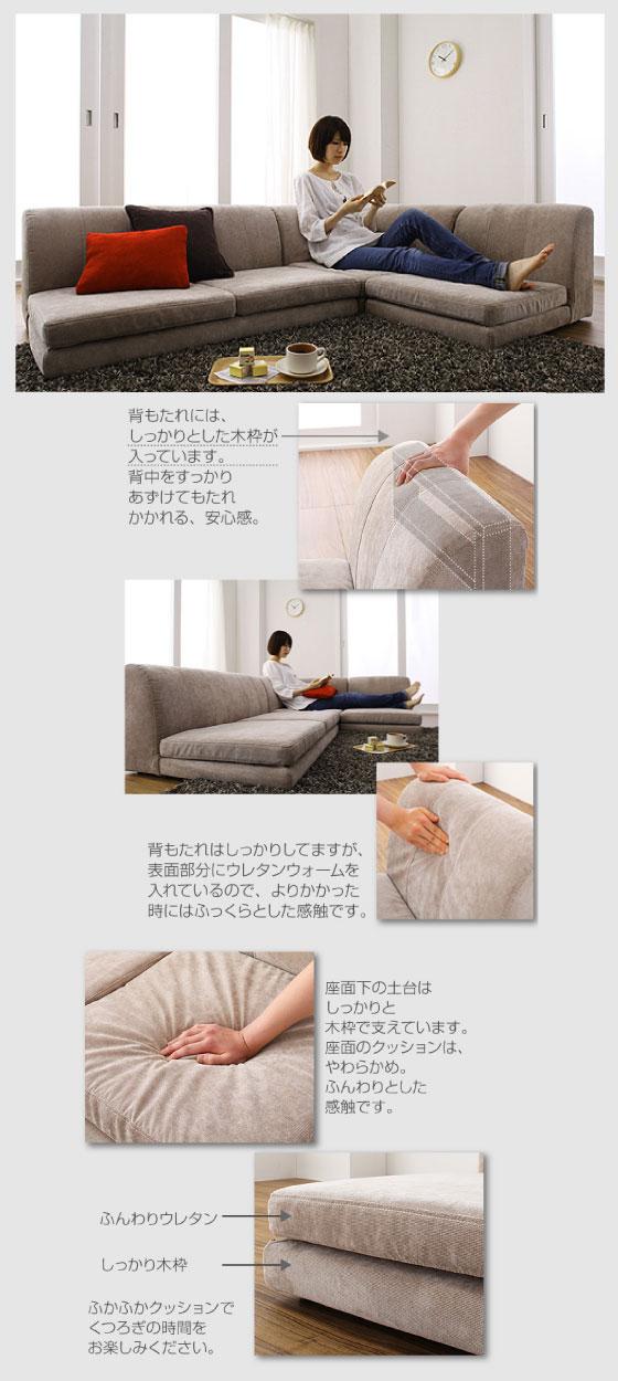 幅170cm・布ファブリック製・コーナーソファー(カバーリング仕様)