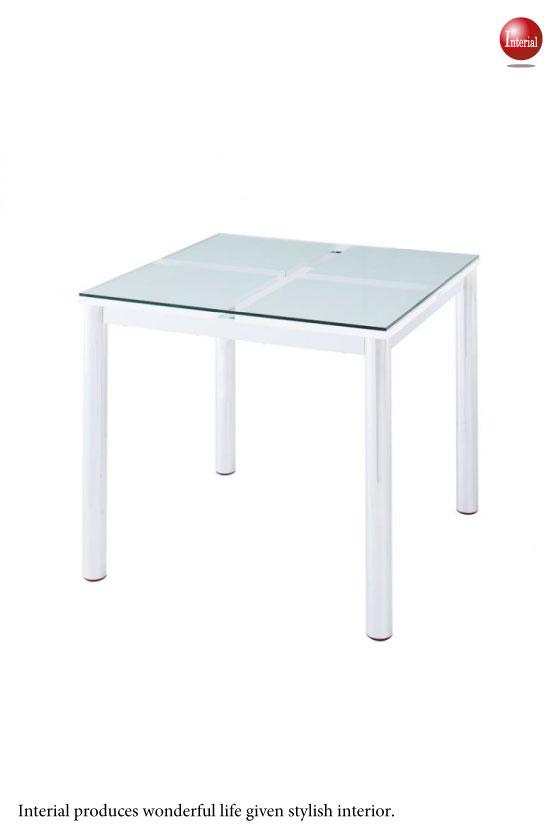 強化ガラス&スチール・ダイニングテーブル(幅80cm正方形)
