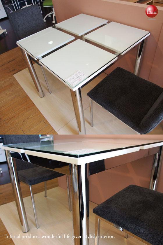 幅80cm・ガラス天板ダイニングテーブル(正方形)
