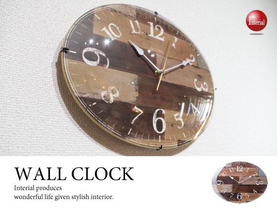 アンティークデザイン&曲げガラス・楕円型壁掛け時計
