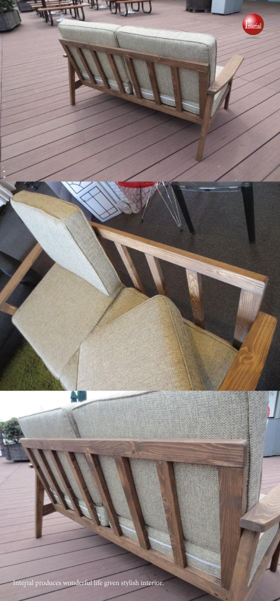 レトロな天然木パイン製・2人掛けファブリックソファー(幅141cm)
