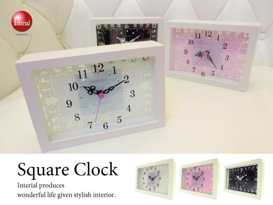 ガラスレース・スクエア壁掛け&置時計