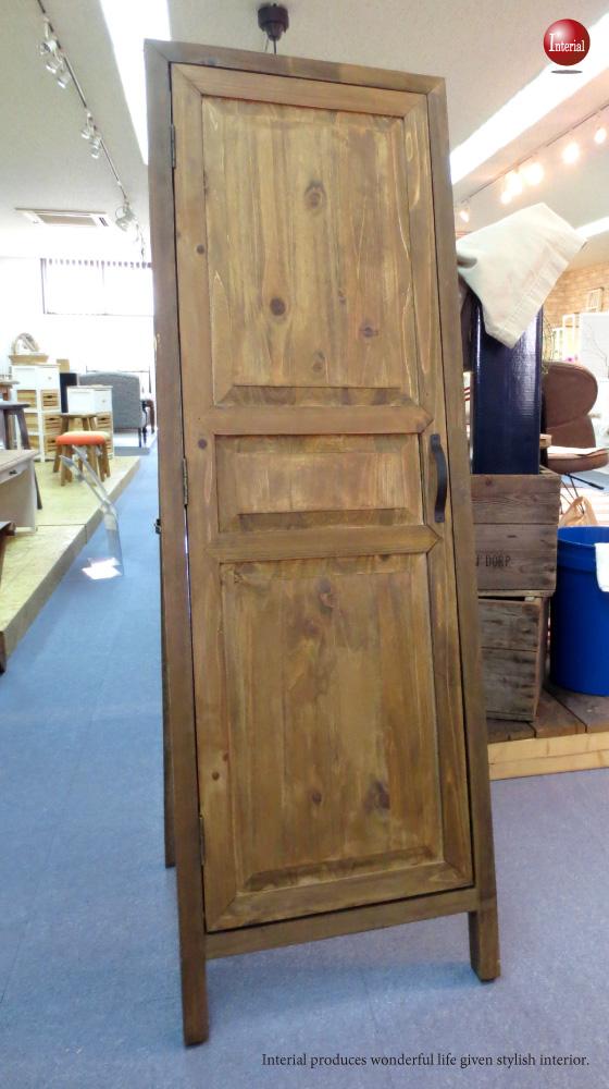 天然木製・収納フック&トレー付きドアミラー