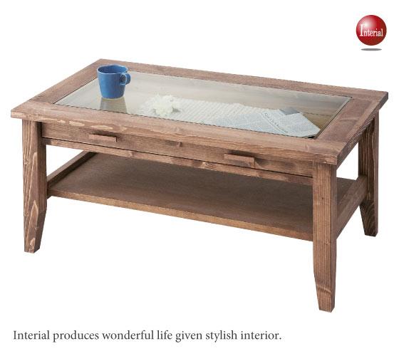 天然木パイン&ガラス製センターテーブル