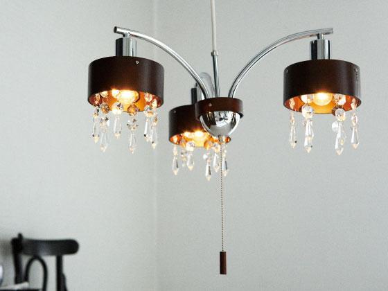 ウッド&クリスタルシャンデリア・ペンダントランプ(3灯)LED電球使用可能