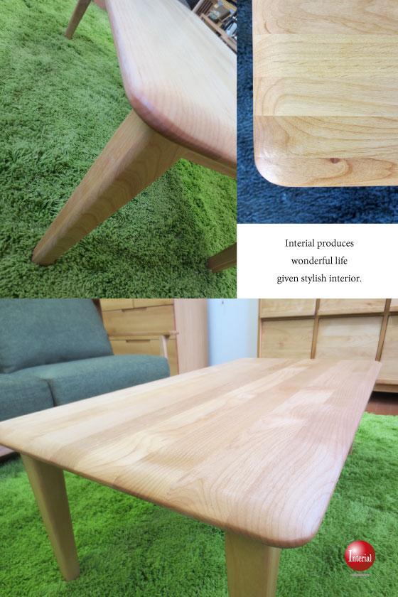 幅105cm・天然木アルダー無垢製リビングテーブル